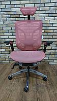 "Dvary DV-10E особенное кресло, дизайн спинки в форме ""бабочки"", Серый пластик, GT-22 розовый"