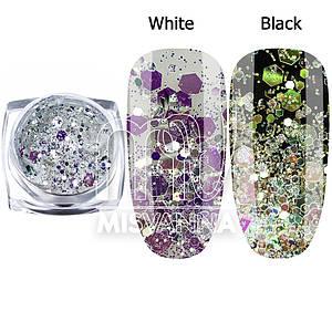 Брокат для декора ногтей Starlet Professional DT-06, белый с фиолетовым переливом