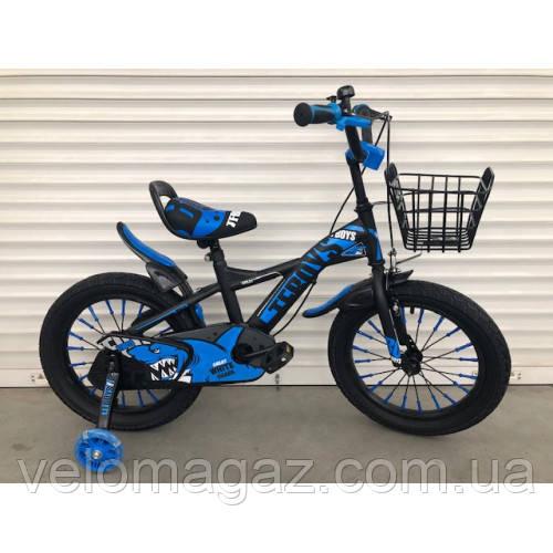 """Велосипед TopRider 605 16"""" синий детский двухколесный"""