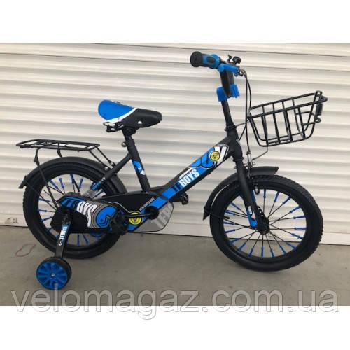 """Велосипед TopRider 703 16"""" синий детский двухколесный"""