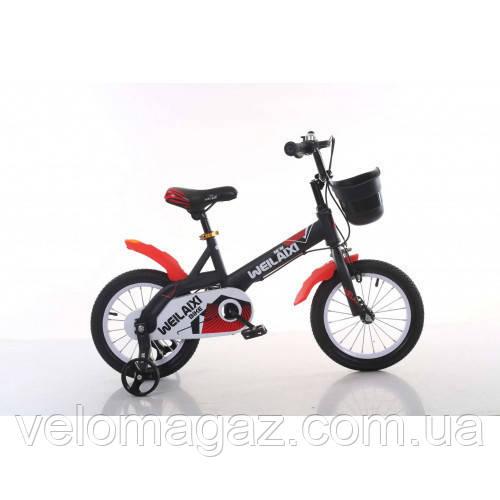 """Велосипед TopRider 876 14"""" чорно-червоний дитячий двоколісний"""