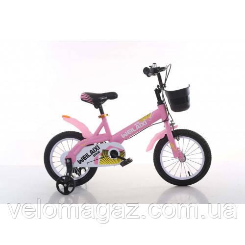"""Велосипед TopRider 876 14"""" розовый детский двухколесный"""