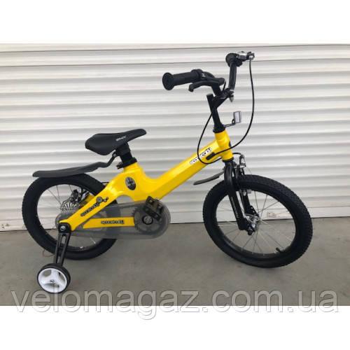 """Велосипед TopRider TT-06 16"""" магниевый, желтый детский двухколесный"""
