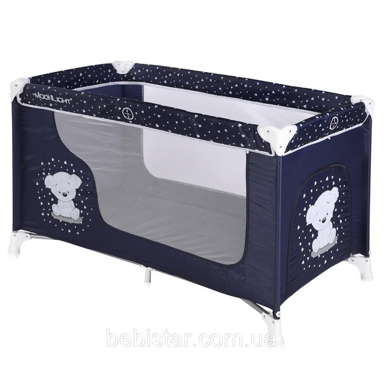 Манеж-кровать синий Lorelli MOONLIGHT 1 Dark blue teddy bear