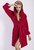Женский махровый халат красный