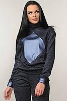 Світшот на флісі Ромб 42-52 розміри темно-синій, фото 1