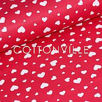 ✁ Відрізи тканини Сердечка великі дрібні на червоному