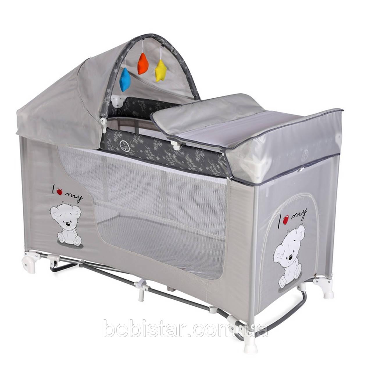 Манеж-кровать с укачиванием серый Lorelli MOONLIGHT Rocker 2L Grey my teddy