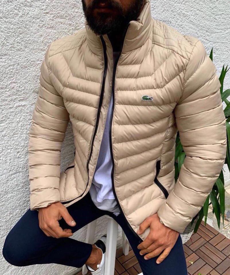 Мужская куртка Lacoste, бежевого цвета.ТОП КАЧЕСТВО!!! Реплика