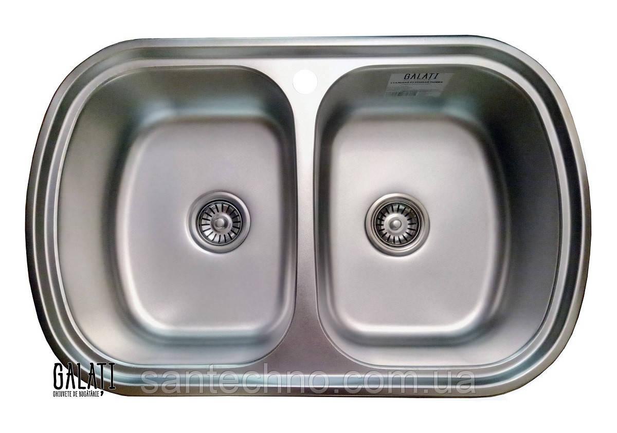 Кухонная мойка из нержавеющей стали  на две чаши Galati Vayorika 2C Satin