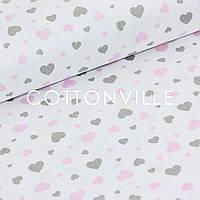 ✁ Відрізи тканини Сердечка великі дрібні сіро-рожеві