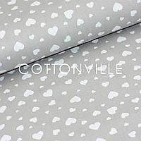 ✁ Відрізи тканини Сердечка великі дрібні на сірому