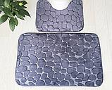 Набір з 2-х плюшевих килимків «Галька» 50×80 см, сірий, фото 10