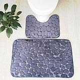 Набір з 2-х плюшевих килимків «Галька» 50×80 см, сірий, фото 8