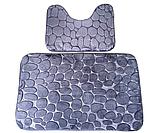 Набір з 2-х плюшевих килимків «Галька» 50×80 см, сірий, фото 9