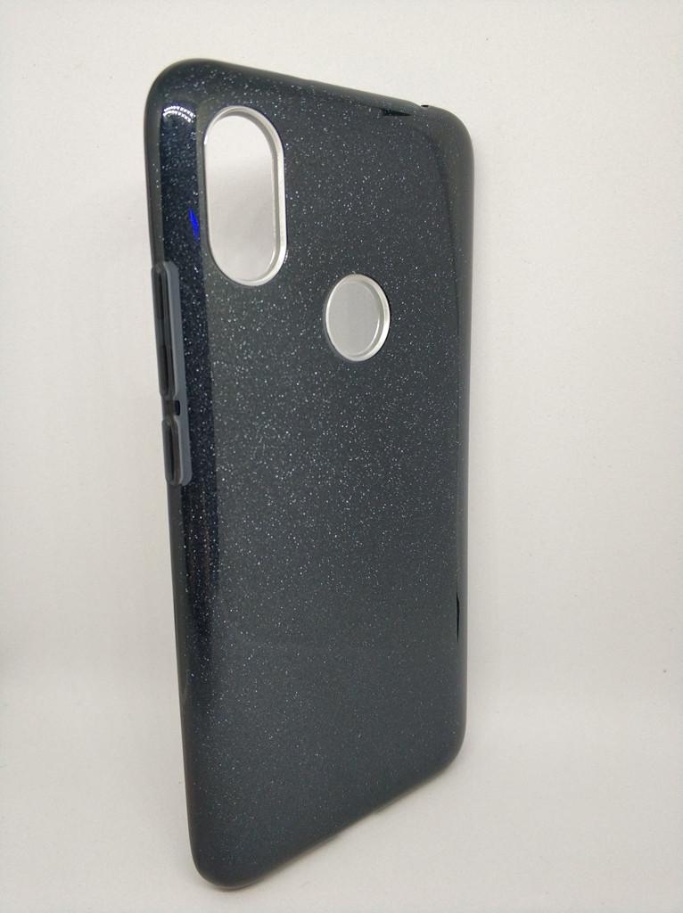 Чехол с блестками для Xiaomi Redmi S2 силикон черный