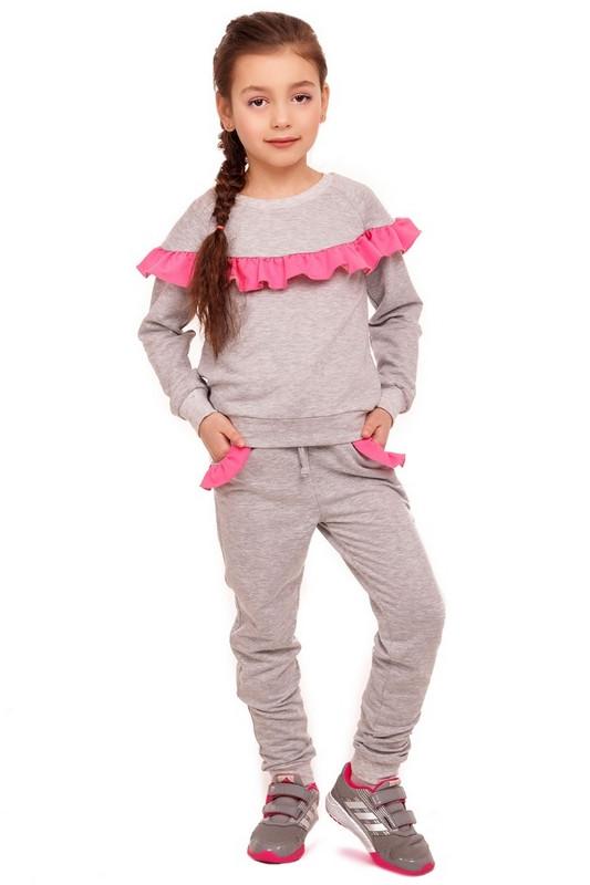 Серый костюм из трикотажа с рюшей для девочки 110-122р