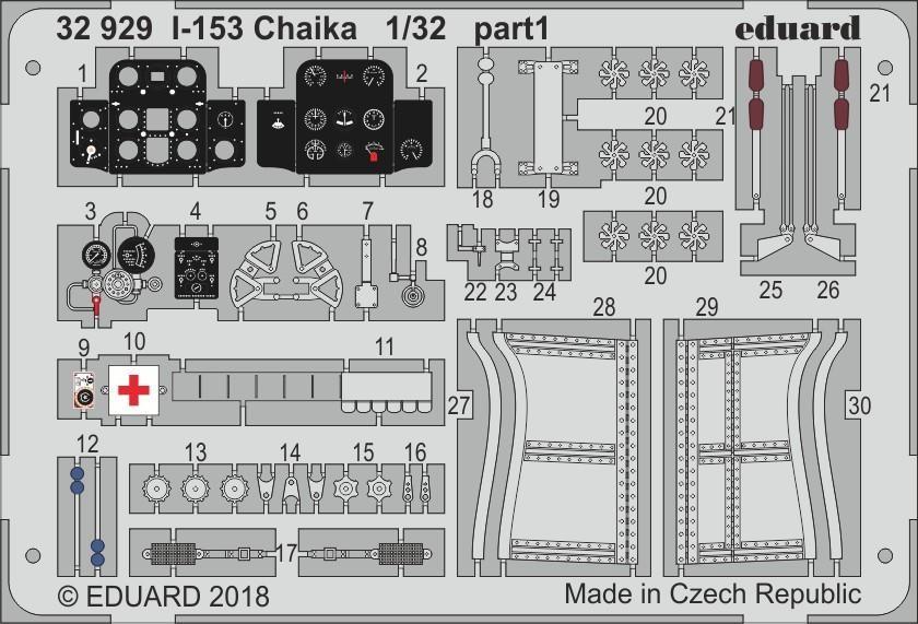 Набор фототравления для И-153 Чайка. 1/32 EDUARD 32929