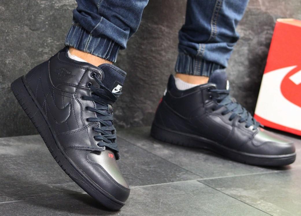 15c17b7432a0 Зимние кроссовки Nike Air Jordan (темно-синие) - Мужские кроссовки   CrossKed.