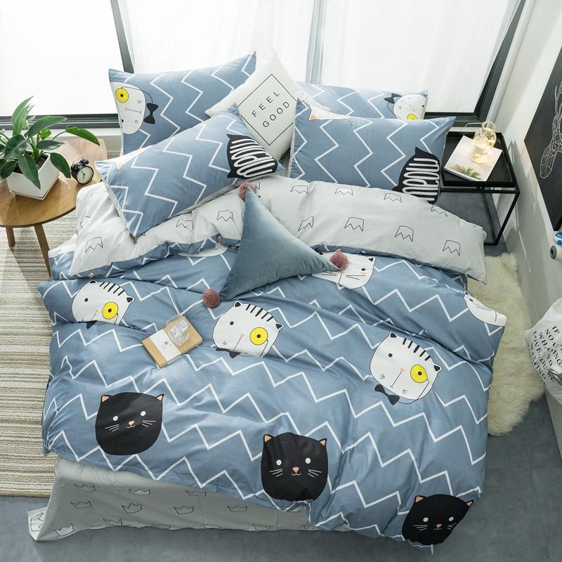 Синее постельное белье Умный кот (полуторный)