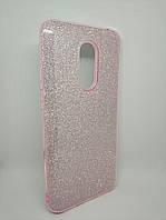Чехол с блестками для Xiaomi Redmi 5 Plus силикон розовый