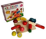 """Деревян.""""разрезалки"""" KXM-535 (90шт)овощи/фрукты, на липучке разрезать , в коробке"""