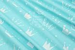 """Лоскут ткани """"Нарисованные короны"""" белые на светло-бирюзовом №1563а, фото 6"""