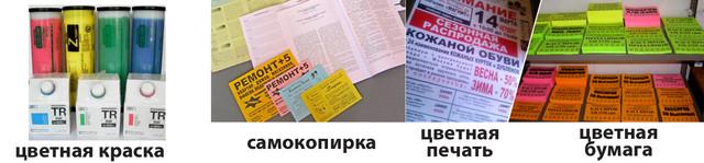 Ризорафия на цветной бумаге, цветная ризорафия, печать объявлений, тиражирование объявлений