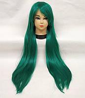 Парик женский искусственные волосы аниме зеленый карнавальный косплей cosplay прямой ровный
