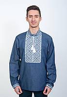 Вышитая рубашка - мужская вышиванка (джинс), арт. 4219джинс