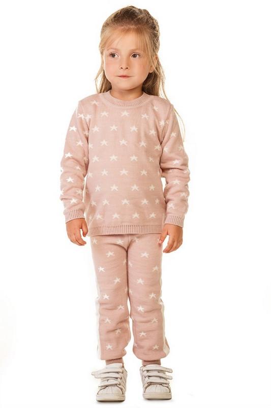 Вязаный костюм для девочки Звездочка пудрового цвета 86-116р