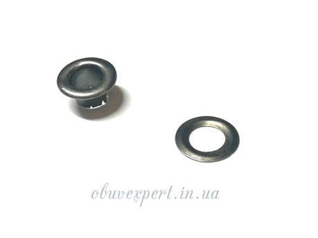 Люверс з шайбою 6 мм Чорний нікель (10 шт), фото 2