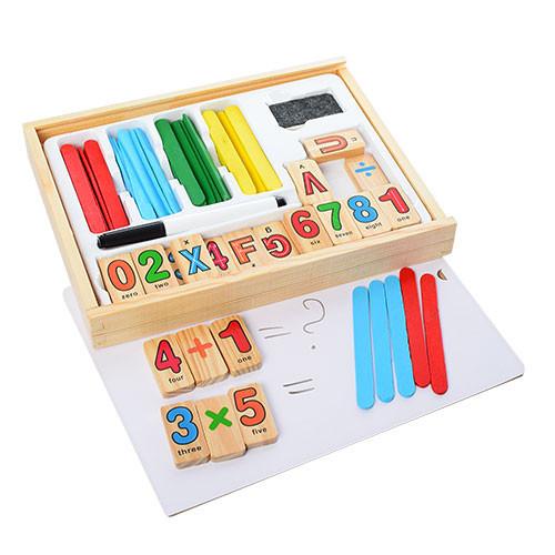 Развивающая игра с палочками для счета и цифрами, деревянная коробка, MD1169
