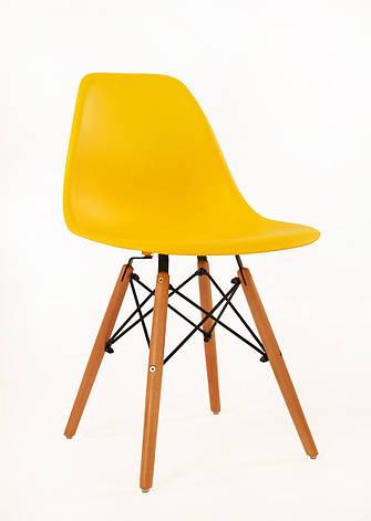 Стул обеденный пластиковый на усиленных буковых ножках  Nik XXL Onder Mebli, желтый 11, фото 2
