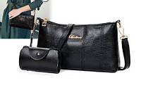 0094 Женская сумка Эко кожа  комплект цвет черный