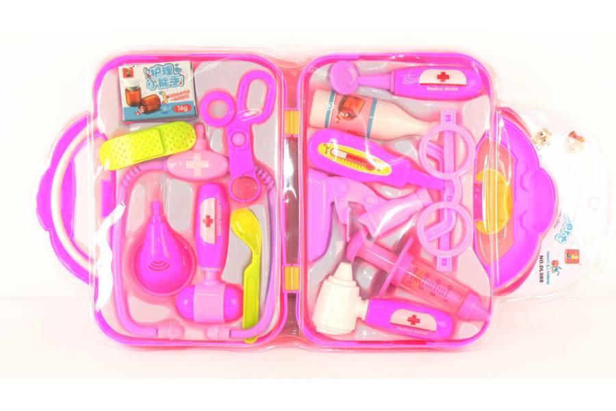 Доктор DL988 (48шт/2) стетоскоп, шприц, ножницы,очки,градусник,чемодан.., в слюде 50*26*5см