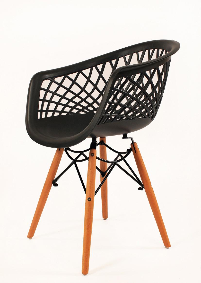 Кресло пластиковое на деревянных ножках Viko, антрацит