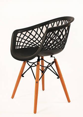 Кресло пластиковое на деревянных ножках Viko, антрацит, фото 2