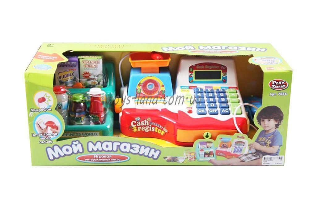 Касовий апарат 7256 (12шт/2) батар., з вагами, пласт.продуктами, кошиком, в кор. 47*19*18,5 см