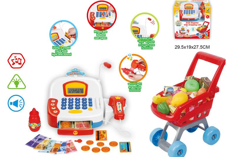 Кассовый аппарат 66061 (16шт/2) свет-зв, сканер, тележка, продукты, в кор. 29,5*19*27,5см