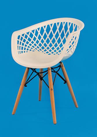 Кресло пластиковое на деревянных ножках  Viko, белый, фото 2