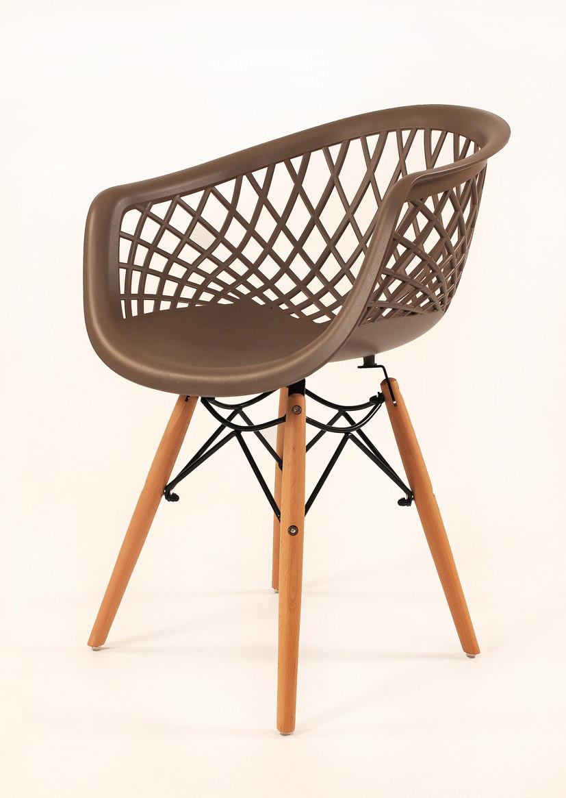 Кресло пластиковое на деревянных ножках  Viko, серый