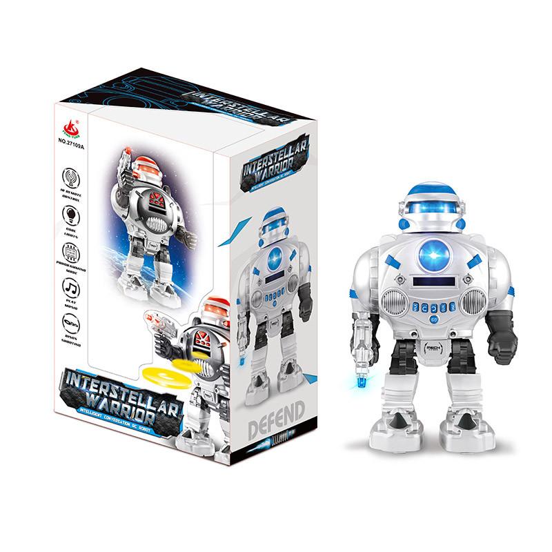 Робот батар. 27109 (18шт) ходить вперед-назад, стріляє дисками, світло, звук, в кор.