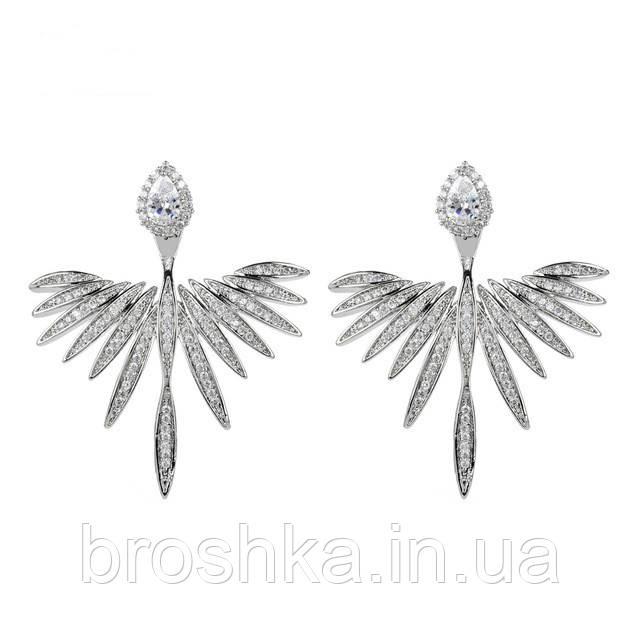 Серьги джекеты крылья ангела с микровставкой циркония бижутерия