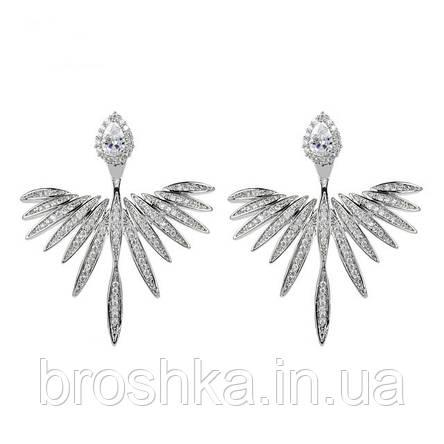 Серьги джекеты крылья ангела с микровставкой циркония бижутерия, фото 2
