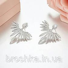 Серьги джекеты крылья ангела с микровставкой циркония бижутерия, фото 3