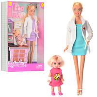Кукла-доктор с дочкой DEFA 8348, кабинет доктора и врачебные аксессуары, аналог Барби