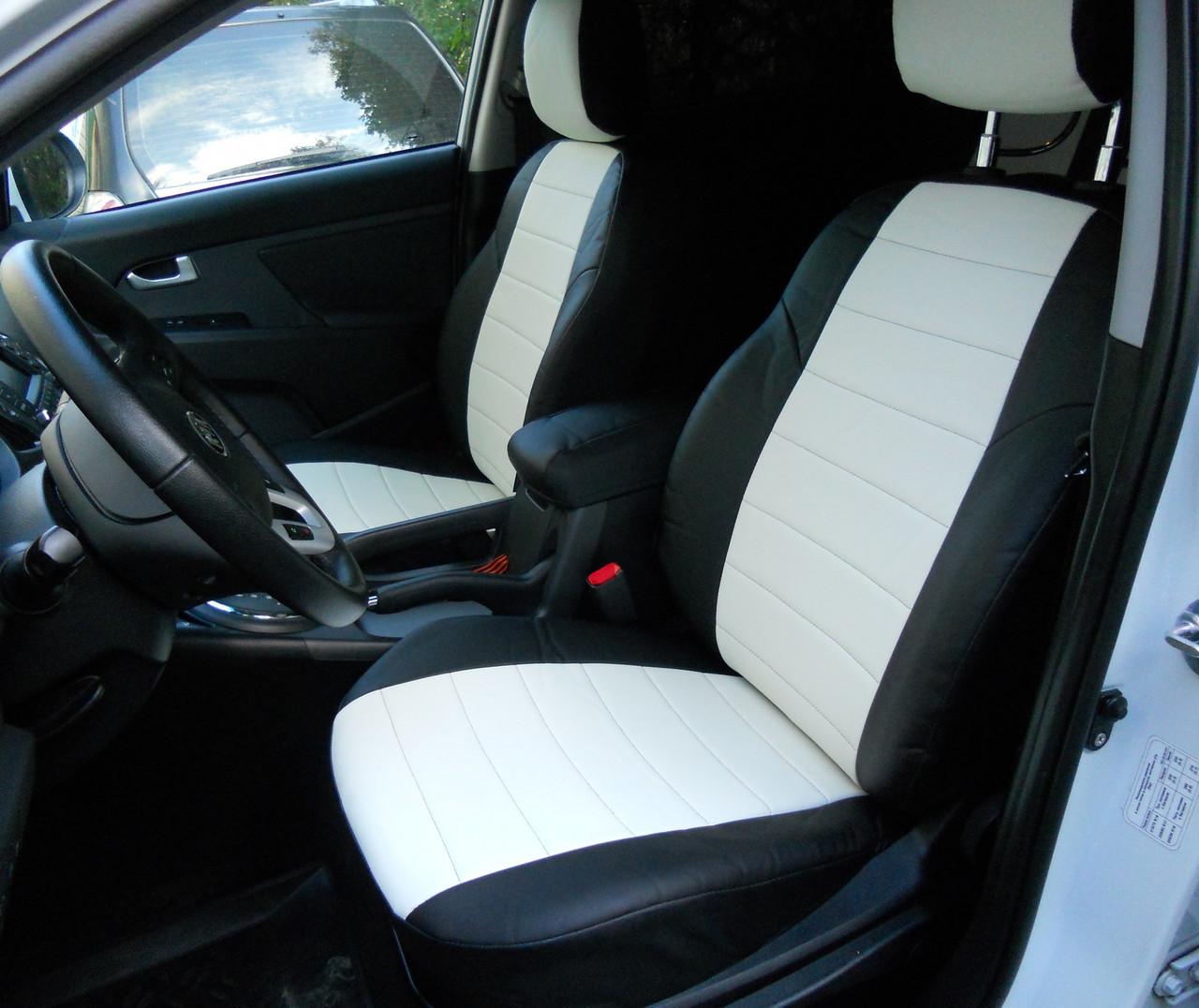 Чехлы на сиденья Ауди А4 (Audi A4) (универсальные, кожзам, с отдельным подголовником)