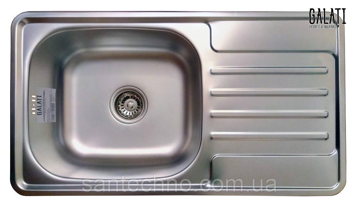 Прямоугольная кухонная мойка из нержавеющей стали с крылом  Galati Milana Textura