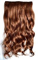 Прядь накладная на клипсах из искусственных вьющихся термо-волос 80 см №30 рыжеватый, фото 1